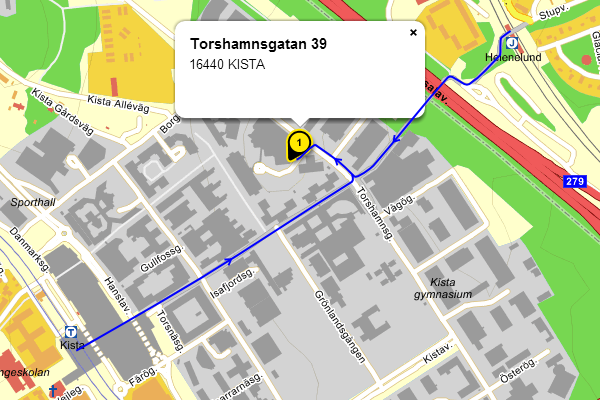 Map showing how to get to Sweden Connectivity in Kista